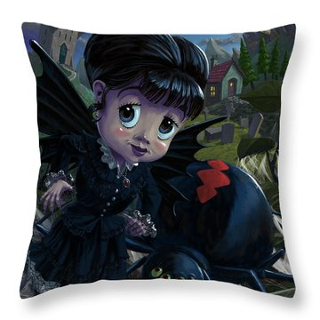 Goth Girl Fairy With Spider Widow Throw Pillow