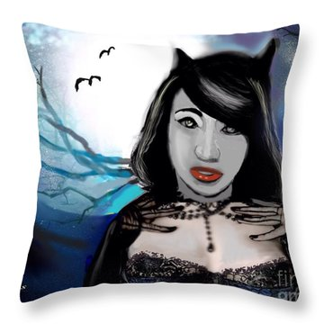 Throw Pillow featuring the digital art Goth Pussycat by Diana Riukas