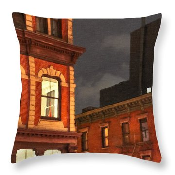 Gotham By Night - New York City Throw Pillow by Mark E Tisdale