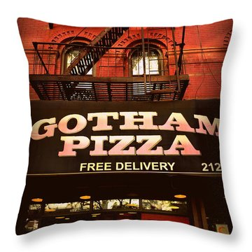 Gotham Pizza Throw Pillow by Miriam Danar
