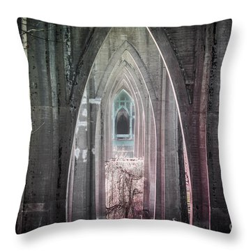 Gothic Arches Hands Folded In Prayer Throw Pillow