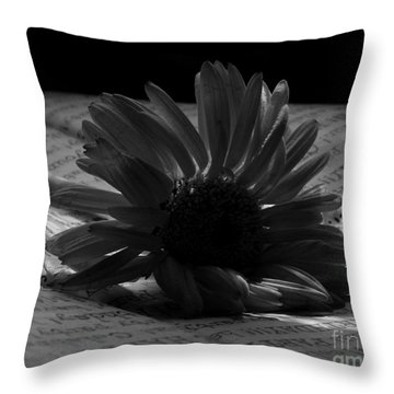 Gothic Birthday Flower Bw Throw Pillow by Chalet Roome-Rigdon