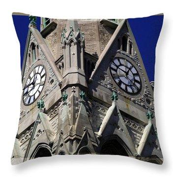 Gothic Church Clock Tower Spire Throw Pillow