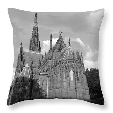 Gothic Church In Black And White Throw Pillow by John Telfer