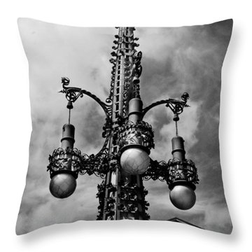 Gothic Lamp Post In Barcelona Throw Pillow