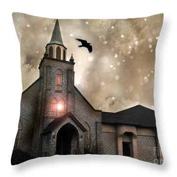 Gothic Surreal Haunted Church And Steeple With Crows And Ravens Flying  Throw Pillow by Kathy Fornal