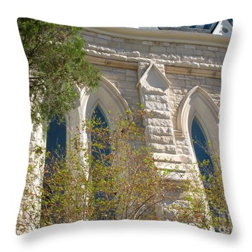 Gothic Windows - Austin Texas Church Throw Pillow by Connie Fox