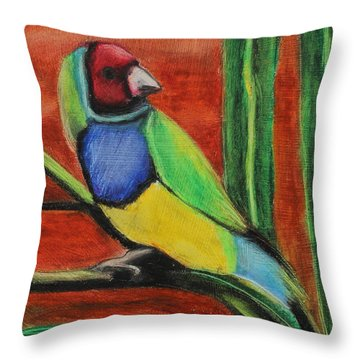 Throw Pillow featuring the painting Gouldian Finch by Jeanne Fischer