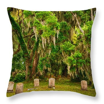 Gould's Cemetery Throw Pillow by Priscilla Burgers
