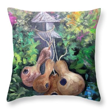 Gourds And Flowers Throw Pillow