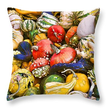 Gourds And Pumpkins At The Farmers Market Throw Pillow by Peggy Collins
