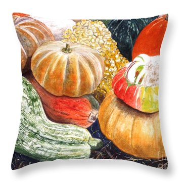 Gourds Throw Pillow by Carol Flagg