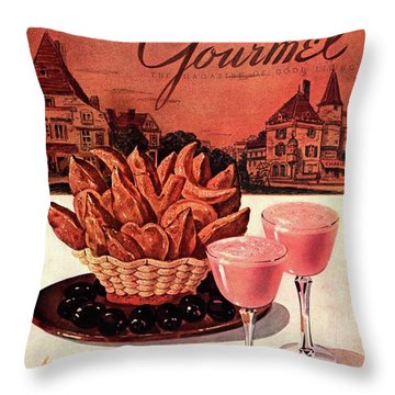 Gourmet Cover Featuring A Basket Of Potato Curls Throw Pillow