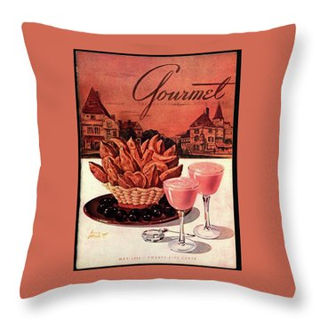 Gourmet Cover Featuring A Basket Of Potato Curls Throw Pillow by Henry Stahlhut
