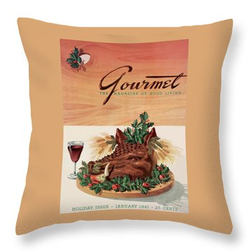 Gourmet Cover Featuring A Boar's Head Throw Pillow