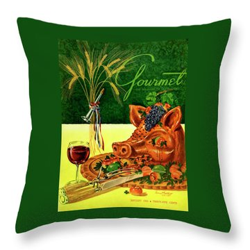 Gourmet Cover Featuring A Pig's Head On A Platter Throw Pillow