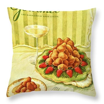 Gourmet Cover Featuring A Plate Of Beignets Throw Pillow