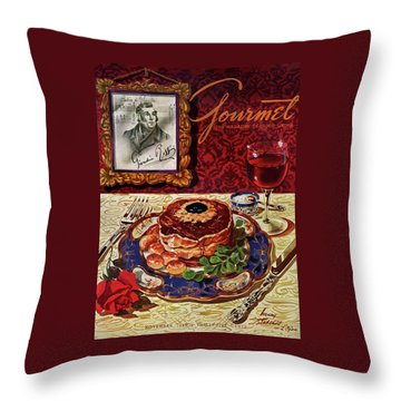 Gourmet Cover Featuring A Plate Of Tournedos Throw Pillow