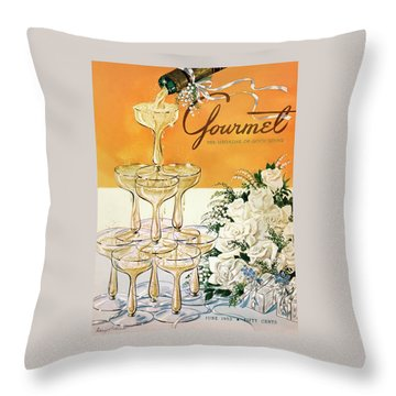 Gourmet Cover Featuring A Pyramid Of Champagne Throw Pillow