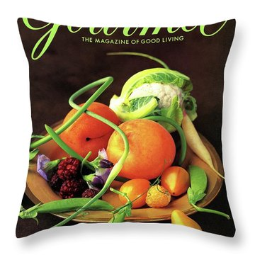 Gourmet Cover Featuring A Variety Of Fruit Throw Pillow