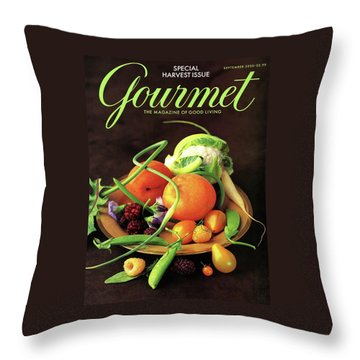 Gourmet Cover Featuring A Variety Of Fruit Throw Pillow by Romulo Yanes