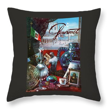 Gourmet Cover Featuring A Variety Of Italian Throw Pillow