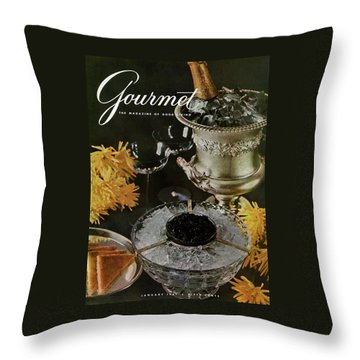 Gourmet Cover Featuring A Wine Cooler Throw Pillow