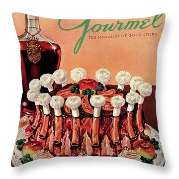Gourmet Cover Illustration Of A Crown Roast Throw Pillow