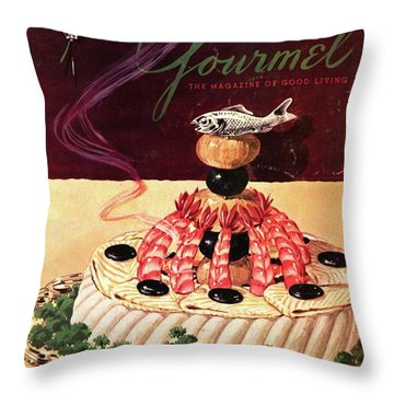 Gourmet Cover Illustration Of A Filet Of Sole Throw Pillow