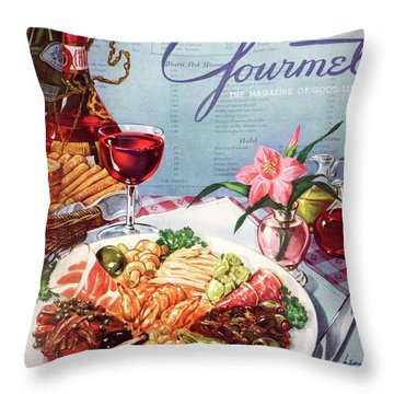 Gourmet Cover Illustration Of A Plate Of Antipasto Throw Pillow