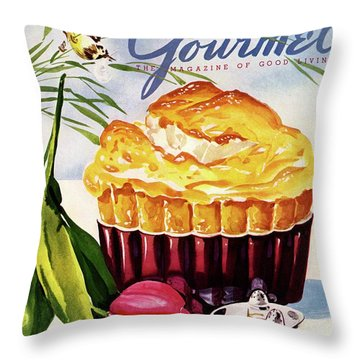 Gourmet Cover Illustration Of A Souffle And Tulip Throw Pillow