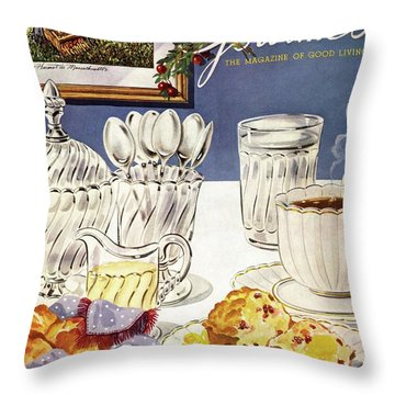 Gourmet Cover Illustration Of Cranberry Muffins Throw Pillow