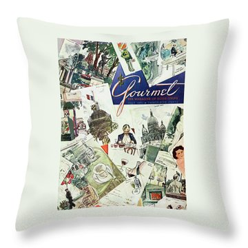 Gourmet Cover Illustration Of Drawings Portraying Throw Pillow