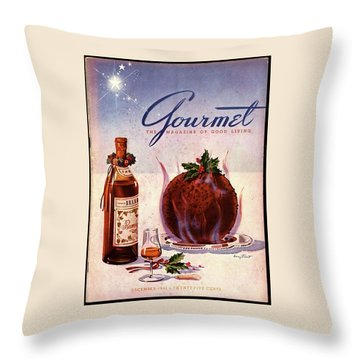 Gourmet Cover Illustration Of Flaming Chocolate Throw Pillow