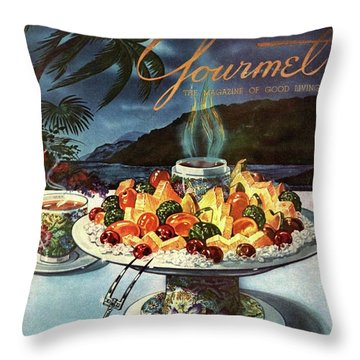 Gourmet Cover Illustration Of Fruit Dish Throw Pillow