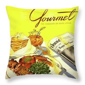 Gourmet Cover Illustration Of Grilled Breakfast Throw Pillow