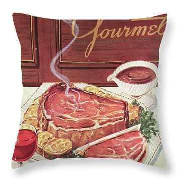 Gourmet Cover Of A Roast Beef Throw Pillow