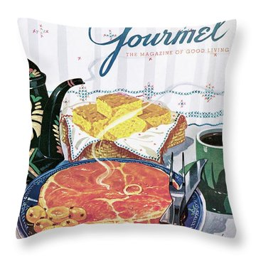 Gourmet Cover Of Ham And Cornbread Throw Pillow