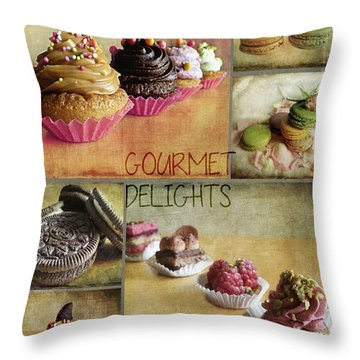 Gourmet Delights - Collage Throw Pillow