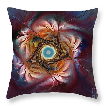 Grace And Elegance-floral Fractal Design Throw Pillow by Karin Kuhlmann