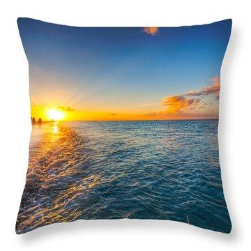Grace Bay Beach Sunset Throw Pillow by Jo Ann Snover