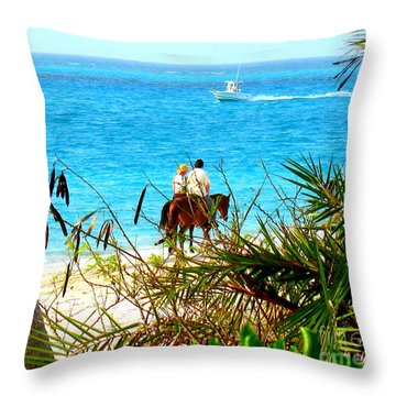 Grace Bay Riding Throw Pillow by Patti Whitten