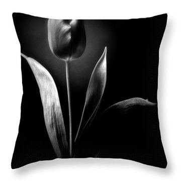 Black And White Tulips Flowers Art Work Photography Throw Pillow