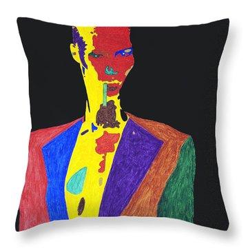 Grace Jones Throw Pillow by Stormm Bradshaw