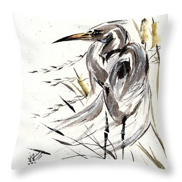 Throw Pillow featuring the painting Grace Of Solitude by Bill Searle