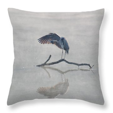 Graceful Heron Throw Pillow