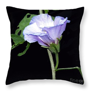 Graceful Purple Hollyhock Throw Pillow