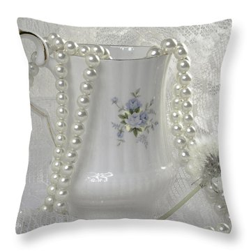 Graceful White Throw Pillow