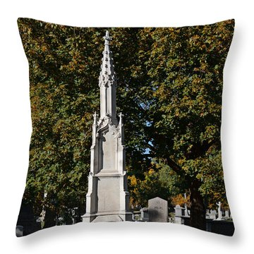 Graceland Cemetery - Garden Of The Dead Throw Pillow by Christine Till