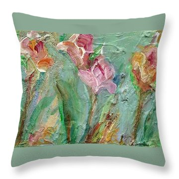 Throw Pillow featuring the painting Grace's Garden by Mary Wolf